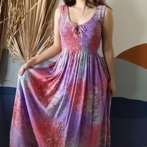 Vintage Tie Dye Boho Smocked Tropical Maxi Dress